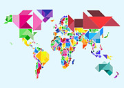 Geography Posters - Tangram Abstract World Map Poster by Michael Tompsett
