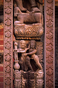 Wooden Sculptures Prints - Tantric Carving - Bhaktapur Nepal Print by Craig Lovell