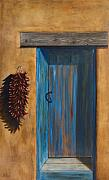 Santa. Framed Prints - Taos Blue Door Framed Print by Jack Atkins