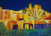 Homes Pastels Posters - Taos light late winter Poster by George Chacon
