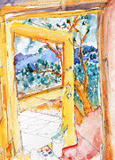 Doorway Drawings Framed Prints - Taos Mountain Framed Print by Caroline Stockwell