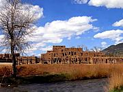 Taos Prints - Taos pueblo early spring Print by Kurt Van Wagner