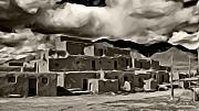 Historic Site Digital Art Metal Prints - Taos Pueblo Metal Print by Lou  Novick
