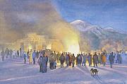 Xmas Painting Originals - Taos Pueblo on Christmas eve by Jane Grover