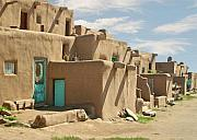 Pueblo People Framed Prints - Taos Pueblo with resident Framed Print by Sharon Foster