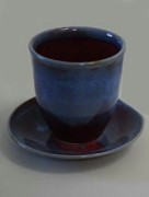 Not Made In China Pottery Ceramics - Tapered Cup Blue-red and Saucer by Patrick Trujillo