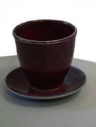 Not Made In China Pottery Ceramics - Tapered Cup Red and Saucer by Patrick Trujillo