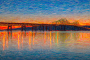 Impasto Photo Posters - Tappan Zee Bridge after Sunset Impasto Poster by Clarence Holmes