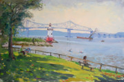 Ylli Haruni Prints - Tappan Zee bridge and light house Print by Ylli Haruni