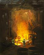 Industry Paintings - Tapping the First Heat by Martha Ressler