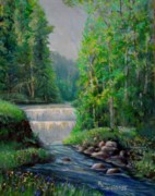 Falls Paintings - Taquamenon Falls by Kym Inabinet