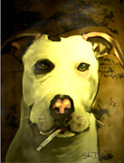 Pit Bull Mixed Media Metal Prints - Tar Pit Metal Print by Stevn Dutton