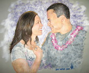 Army Pastels - Tara and Jacob by Larry Whitler