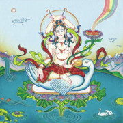 Tibetan Art Paintings - Tara Protecting against Poisons and Naga-related diseases by Carmen Mensink