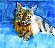 Digital Paintings - Tara the Cat by Suzanne Cerny