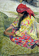 Unique Art Drawings Prints - Tarahumara Woman Print by Juan Jose Espinoza
