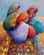 Indian Pastels Posters - Tarahumara Women Poster by Candy Mayer