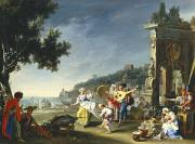 Naples Paintings - Tarantella at Mergellina by Filippo Falciatore