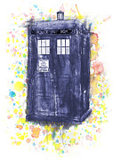Doctor Mixed Media - Tardis in Wibbly Wobbly Watercolor by Juliet Van Ree