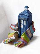 Ceramic Mixed Media Prints - Tardis ll Print by Rhonda Chase