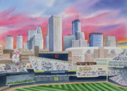 Baseball Art Painting Metal Prints - Target Field Metal Print by Deborah Ronglien