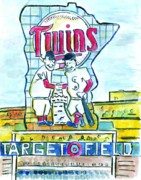 Baseball Paintings - Target Field  by Matt Gaudian