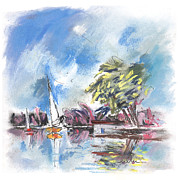 Lakes Drawings - Tarn et Garonne in France 01 by Miki De Goodaboom