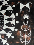 Indian Tribal Art Art - TARPA DANCE-Warli contemporary style painting Indian Folk Ancient Tribal Art by Aboli Salunkhe