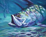 Tropical Wildlife Paintings - Tarpon by Mike Savlen
