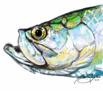 Fishing Digital Art Prints - Tarpon Portrait Print by Mike Savlen