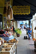 Store Fronts Posters - Tarpon Springs Sidewalk Poster by Theresa Willingham