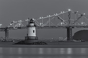 Landscapes Metal Prints - Tarrytown Lighthouse and Tappan Zee Bridge at Twilight II Metal Print by Clarence Holmes
