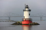Lighthouse Photo Framed Prints - Tarrytown Lighthouse and Tappan Zee Bridge II Framed Print by Clarence Holmes