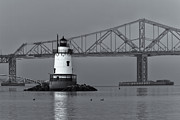 United States National Register Of Historic Places Photos - Tarrytown Lighthouse and Tappan Zee Bridge VIII by Clarence Holmes