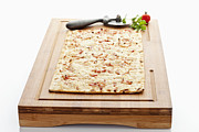 Alsace Framed Prints - Tarte Flambee With Pizza Cutter On Wood Board Framed Print by Westend61
