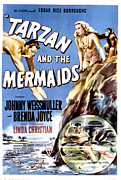 Two Piece Framed Prints - Tarzan And The Mermaids, Johnny Framed Print by Everett