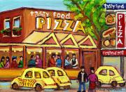 Afterschool Hockey Montreal Painting Posters - Tasty Food Pizza On Decarie Blvd Poster by Carole Spandau