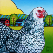 Hen Paintings - Tater by Stacey Neumiller