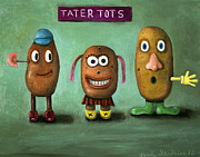 Childlike Metal Prints - Tater Tots Metal Print by Leah Saulnier The Painting Maniac