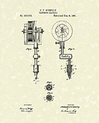 Patent Artwork Drawings Metal Prints - Tattoo Machine 1891 Patent Art Metal Print by Prior Art Design