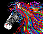 Colorful Drawings - Tattooed Horse by Nick Gustafson
