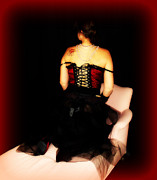 Black Pearls Prints - Tattooed Madam Print by Cindy Nunn