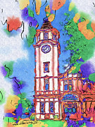 Artography Painting Acrylic Prints - Tauranga Clock Tower Acrylic Print by Stephen Lawrence Mitchell