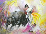 Bulls Painting Posters - Taurean Power Poster by Miki De Goodaboom