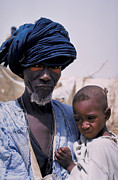 Senegal Framed Prints - Taureg Father and Son in Senegal Framed Print by Carl Purcell