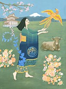 Cherry Blossoms Painting Posters - Taurus---a Tribute to Japan Poster by Karen MacKenzie