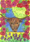 Violets Drawings - Taurus by Cathie Richardson