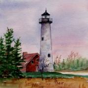 Brenda Thour Posters - Tawas Point Light Poster by Brenda Thour