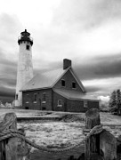 Cloudy Days Framed Prints - Tawas Point Lighthouse Framed Print by Jeff Holbrook
