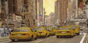 Yellow Prints - taxi a New York Print by Guido Borelli